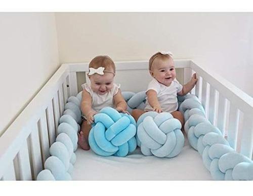 Loaol cuna para bebés parachoques anudada trenzada felpa gu
