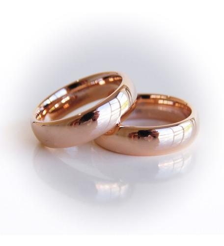 Par anillos de tungsteno rose gold pareja matrimonio