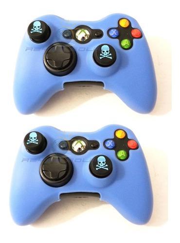 2 piezas funda silicon azul control xbox 360 grips calavera