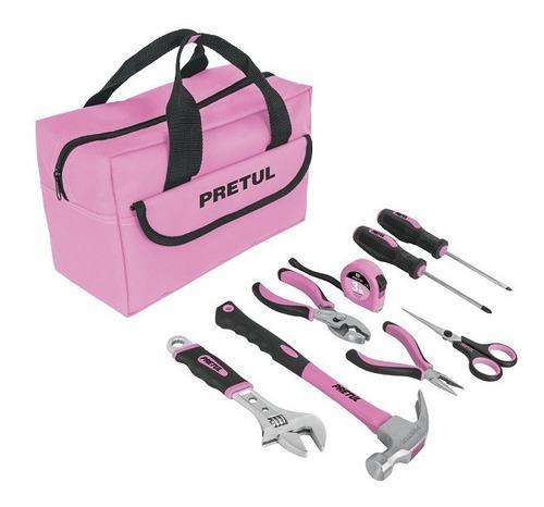 Juego de 8 herramientas rosa, pretul 21251
