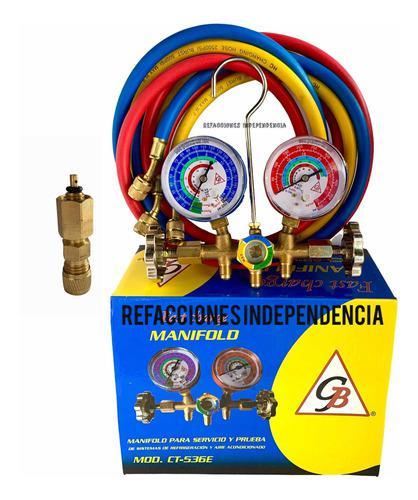 Juego De Manómetros Refrigeracion Y Valvula De Carga