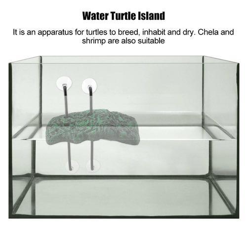 Automático de agua tortuga tomando el sol floating isla con