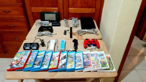 Wii u con 4 controles y 12 juegos