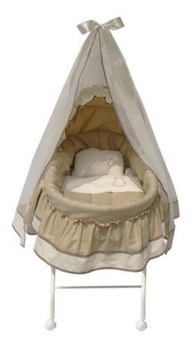 Moisés oso bordado plegable velo colchón sábanas base