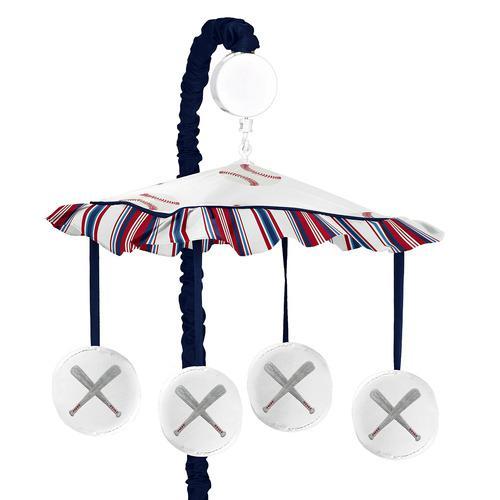 Sweet jojo designs rojo, blanco y azul musical, cuna móvil
