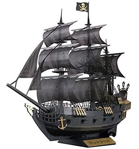 Barco pirata de papel color negro para armar envio gratis