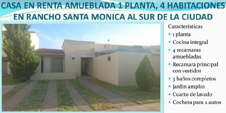 Casa en renta amueblada de 4 habitaciones en rancho santa