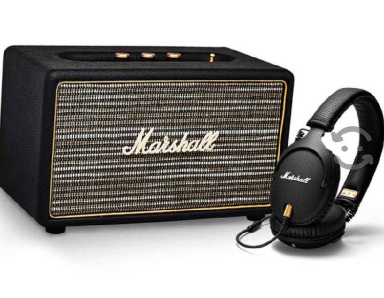 Combo amplificador bluetooth + audífonos marshall