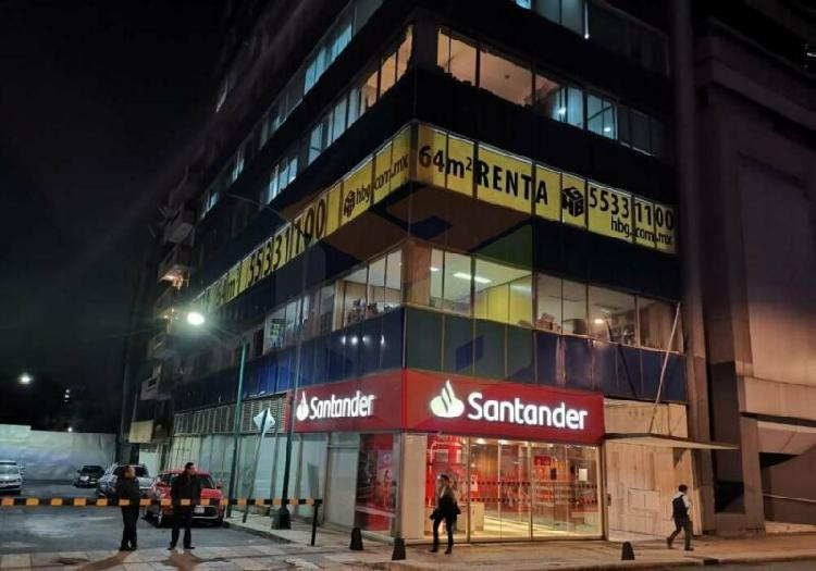 Paseo de la reforma oficina nueva en renta, 50m2, diana