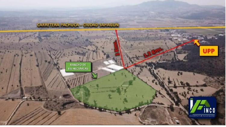 Rancho de 8.9 hectáreas cerca de la upp, mineral de la