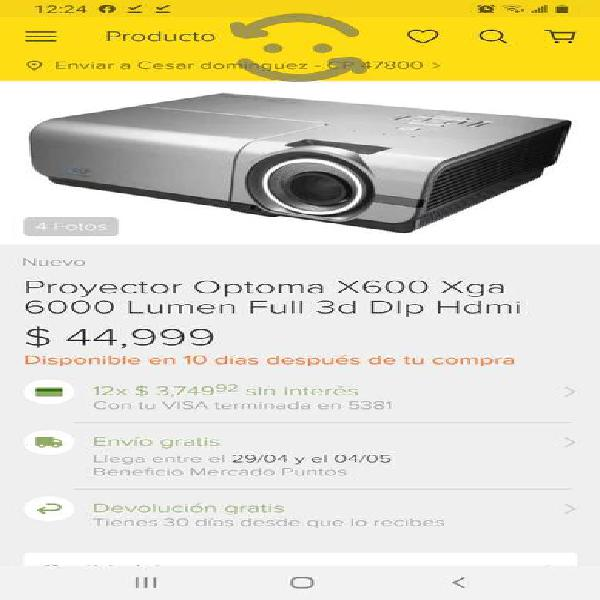 Remato proyector optoma 6000 lumens 3d