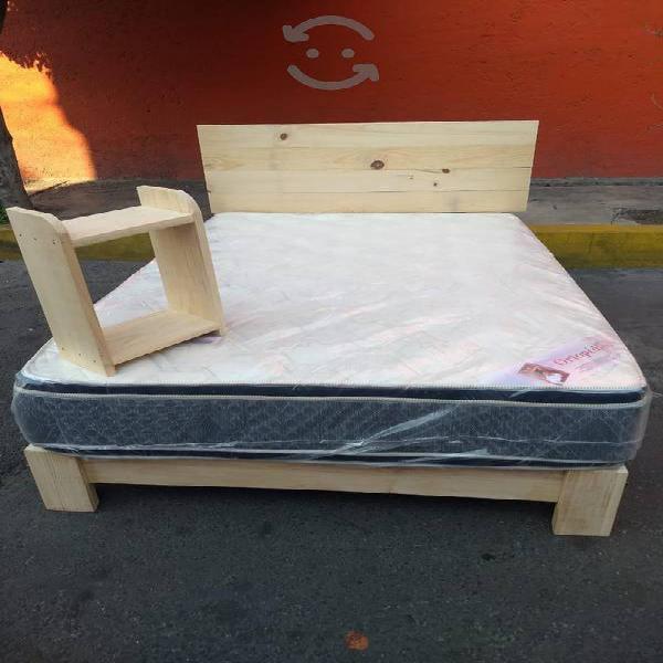 Base y cabecera con colchón doble colchoneta