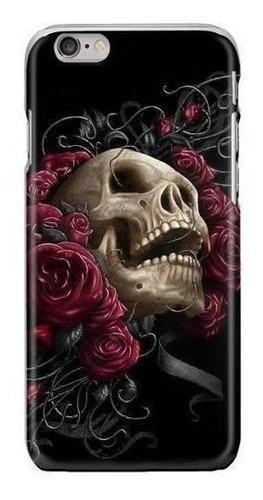 Funda calavera rosas flores dia muertos calaca skull craneo