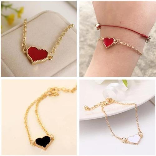 Set 3 pulseras corazon dorada para mujer bisuteria mayoreo