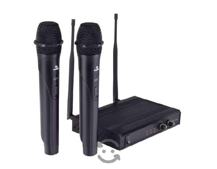 Sistema profesional de 2 micrófonos inalámbricos