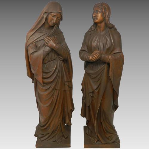 Antiguas tallas en madera virgen maría y san juan alemania