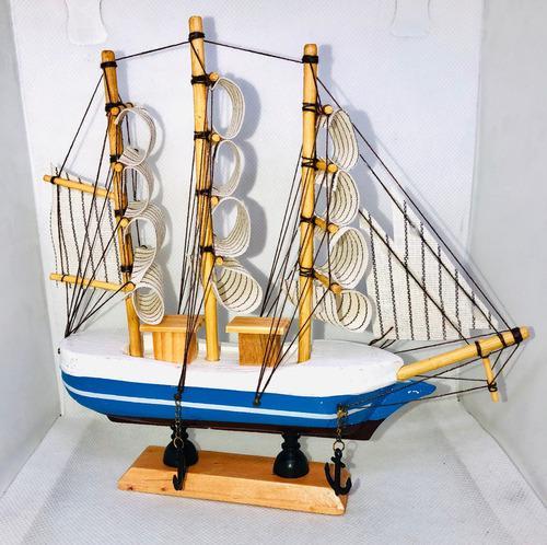 Figura barco madera hecho a mano 20 cm artesanal