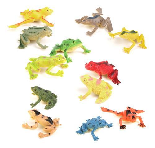 Figuras de pl?stico con dise?o de ranas coloridas, 12 piezas