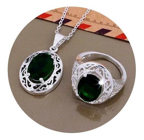 Collar anillos esmeraldas para mujer set completo
