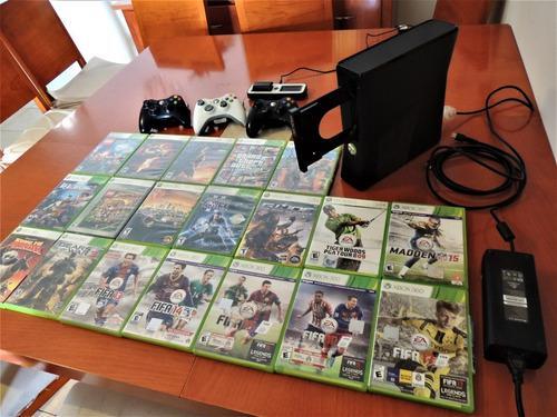 Paquete completo xbox 360 3 mandos 19 juegos originales todo