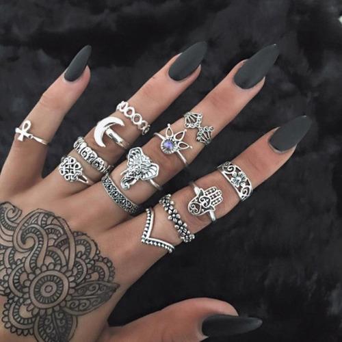Set de 13 anillos mano de fatima elefante para mujer vintage