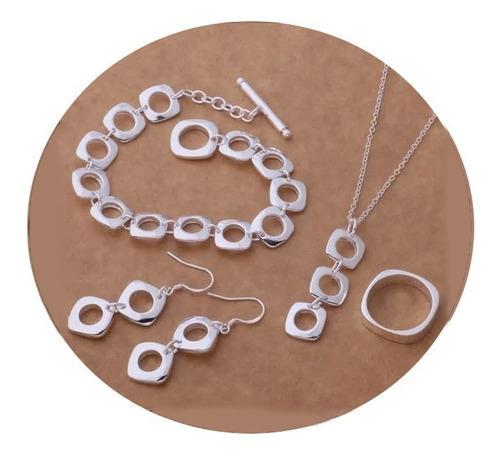 Set para mujer collar pulsera aretes anillo plata ley.925