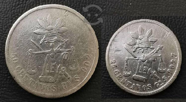2 monedas plata balanza 50 cent 1874 y 25 cent 188