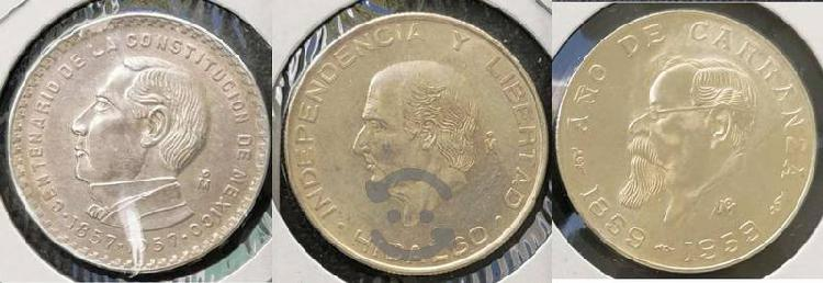 3 monedas plata 5 pesos juarez 1957, carranza 1959