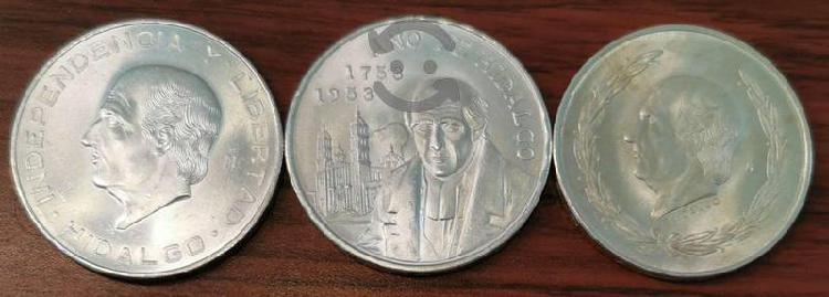 3 monedas plata hidalgo 5 pesos 1953 y 10 pesos