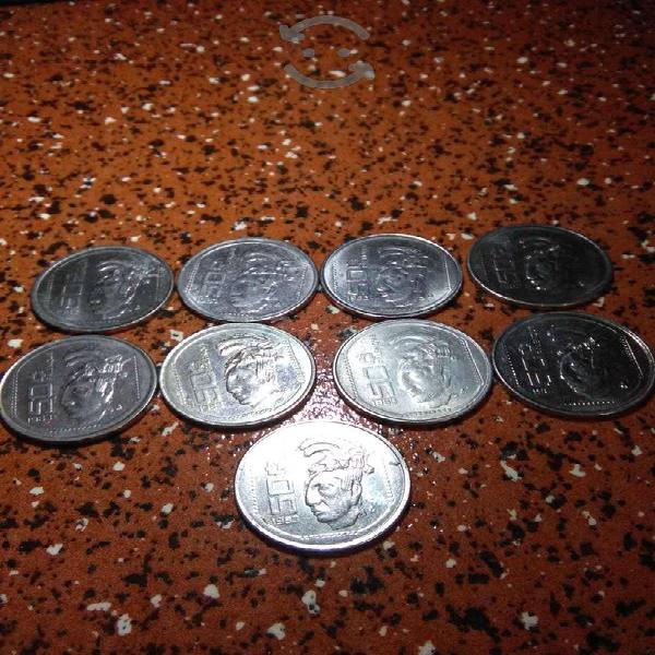 9 monedas de 50 centavos: cabeza de palenque