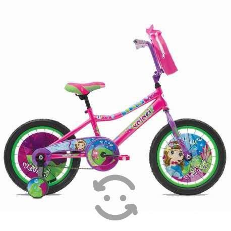Bicicleta infantil r16 niña c/rueditas veloci bubb