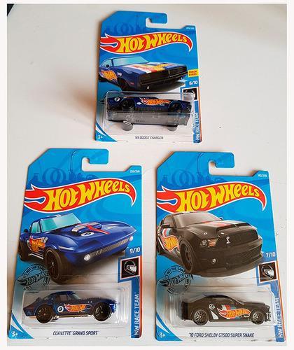Hot wheels paquete de 3 autos colección hw race team 2018