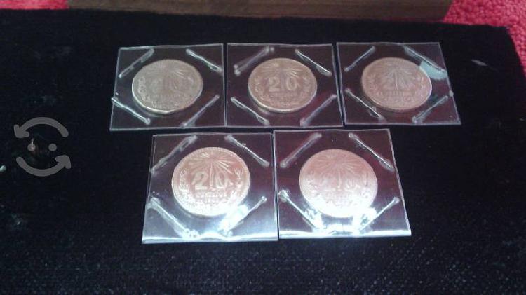 Lote 5 monedas de plata resplandor