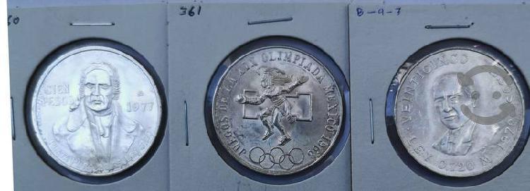 Lote de 3 monedas de plata morelos 1977 olimpica 1