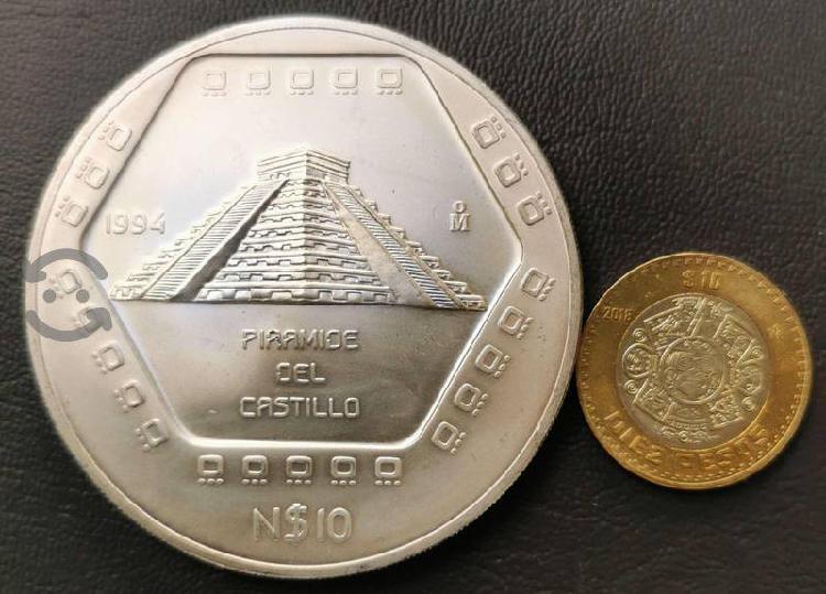 Moneda 1994 5 onzas plata 10 pesos piramide del ca