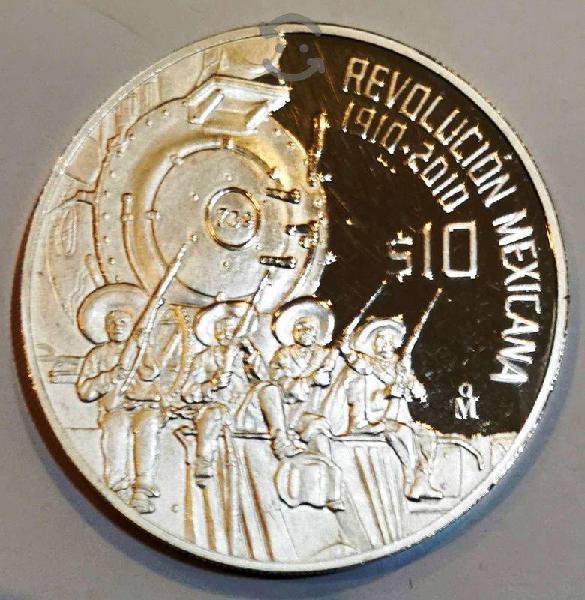Moneda 2010 2 onzas de plata pura 10 pesos revoluc