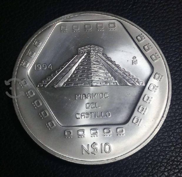 Moneda e 5 onzas de plata pirámide del castillo