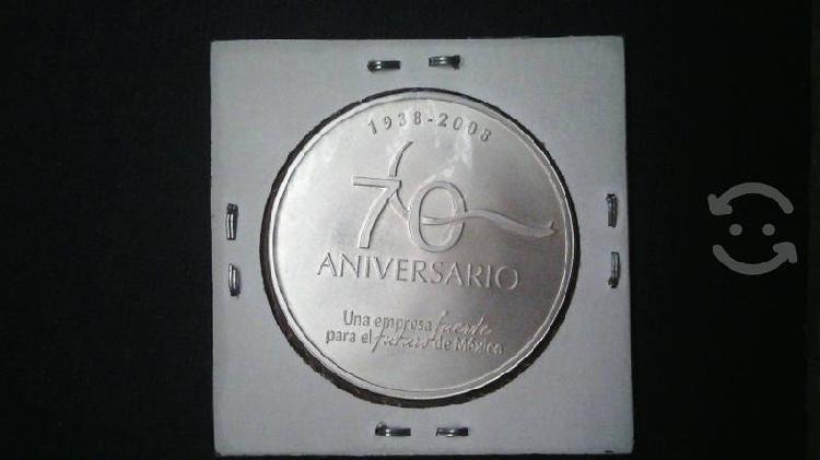 Moneda plata 70 aniversario de pemex