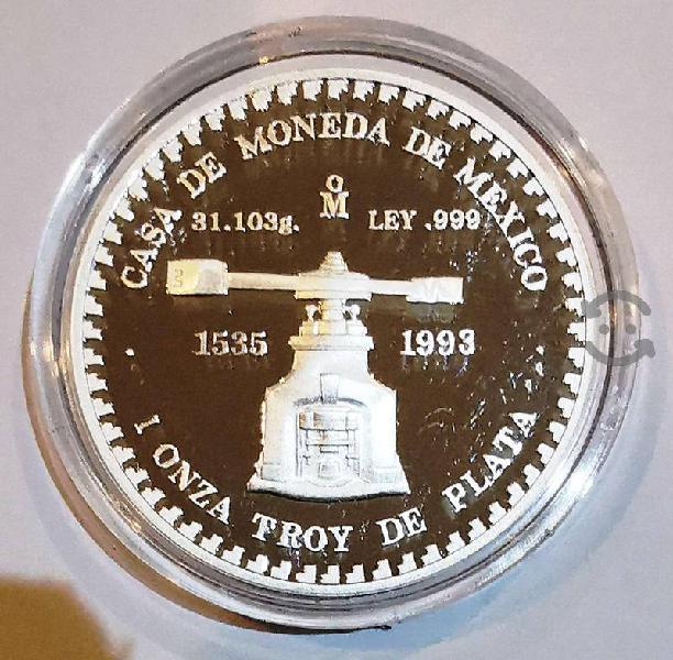 Onza plata 1993 proof acabado espejo piedra de los
