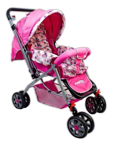 Carriola reversible rosa para bebé angelin nuevo 555k