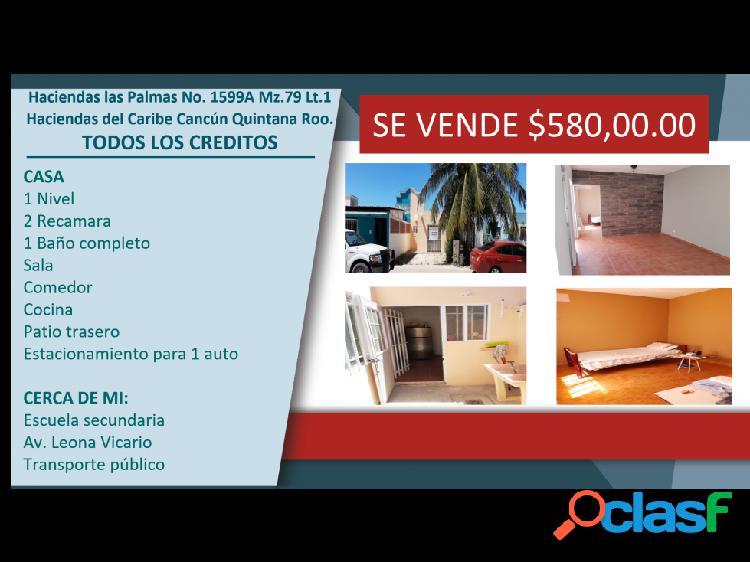 Haciendas del caribe cancún quintana roo venta casa $580,000