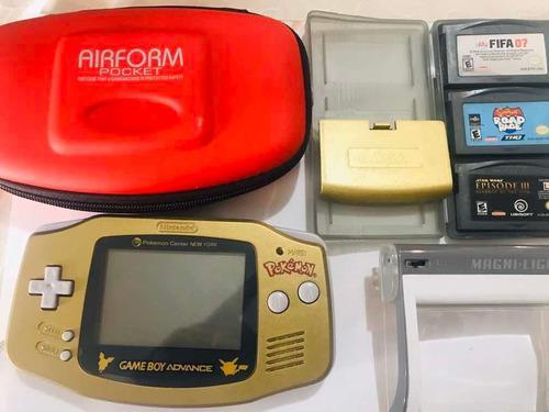 Gameboy advance dorado ed. pokemon + funda+ 3 juegos +lampar