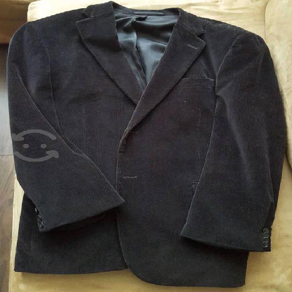 Saco casual de pana negro talla 40r cavalier