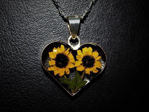 Collar corazon girasol doble plata ley 925 con cadena figaro