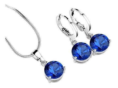 Conjunto de pendientes y collar color azul