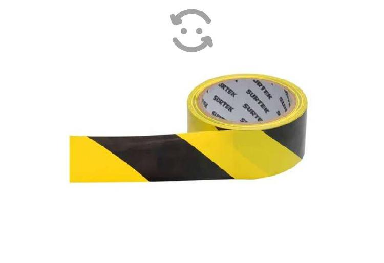 Cinta de señalización amarillo y negro 18 metros s