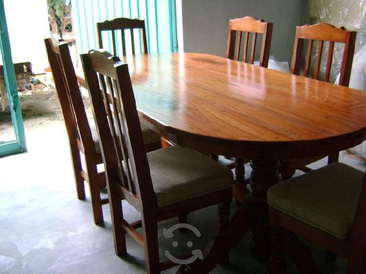 Comedor nuevo con 6 sillas en madera de cedro