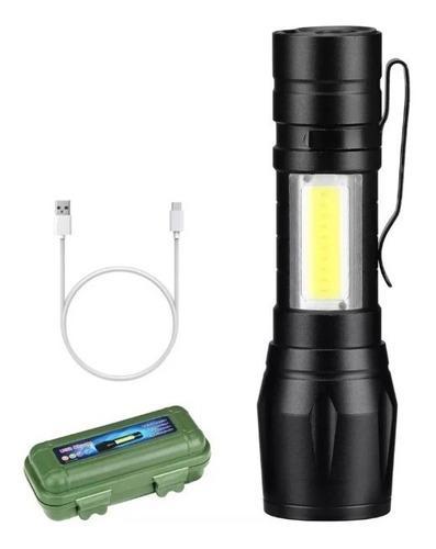 Lampara tactica recargable usb led 2000l luz lateral + clip