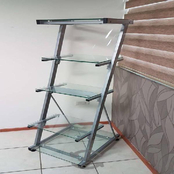 Librero de cristal y estructura metalica