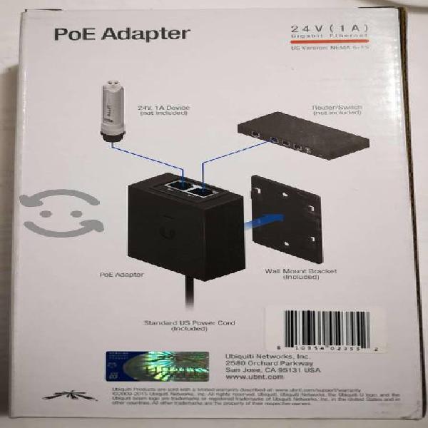 Adaptador poe ubiquiti 24 vdc, 1.0 a inyector poe